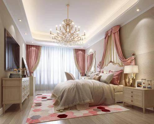 儿童房, 卧室, 简欧儿童房, 床具, 双人床, 吊灯, 电视柜, ?#39184;?#26588;, 台灯, 摆件组合, 简欧