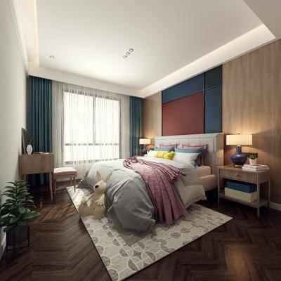 北欧卧室, 现代卧室, 双人床, 卧室