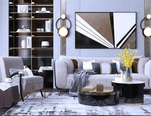 装饰画, 地毯, 客厅, 沙发组合, 茶几组合, 单椅