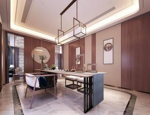 新中式, 茶室, 椅子, 桌子, 吊灯