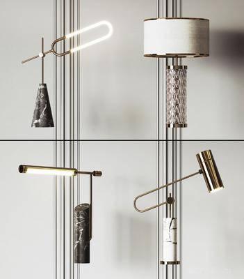现代, 台灯, 组合, 灯具