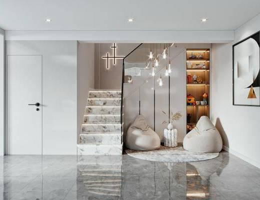 现代, 楼梯, 休息区, 3d模型