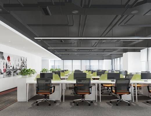 办公区, 桌椅组合, 电脑桌