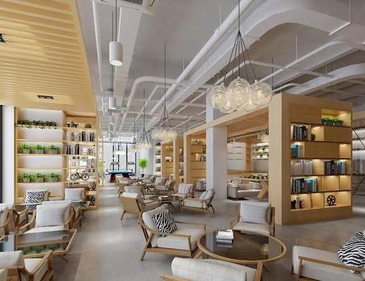 書吧, 書店, 現代書吧, 圓桌, 單椅, 桌椅組合, 現代, 書柜, 書架, 書籍, 書本, 吊燈