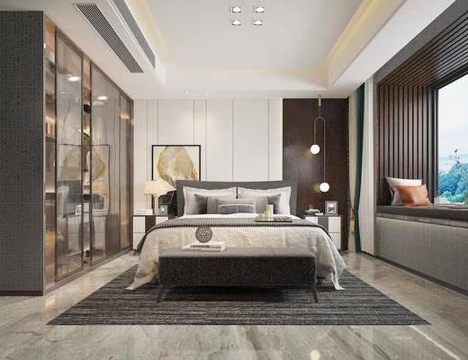 现代卧室, 后现代卧室, 双人床