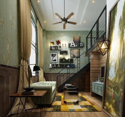 公寓, 多人沙发, 边几, 台灯, 装饰画, 挂画, 电视柜, 装饰柜, 边柜, 吊灯, 置物架, 摆件, 装饰品, 陈设品, 工业风