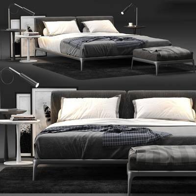 双人床, 床具组合, 现代, 床头柜, 台灯