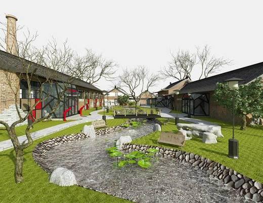 村落, 室外, 景观, 园林