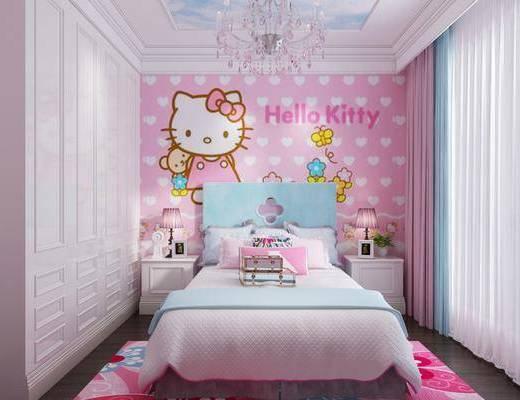 简欧卧室, 简欧儿童房, 简欧床具, 吊灯, 床头柜, 台灯