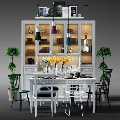 餐桌, 桌椅, 桌椅组合, 餐桌椅组合, 酒柜, 书柜, 盆景, 植物, 吊灯, 现代, 北欧