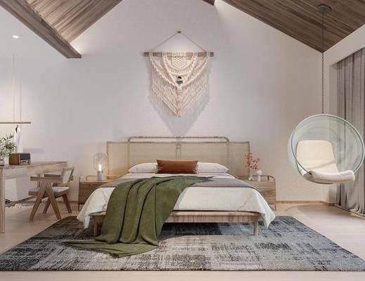 现代民宿酒店客房, 墙饰, 床