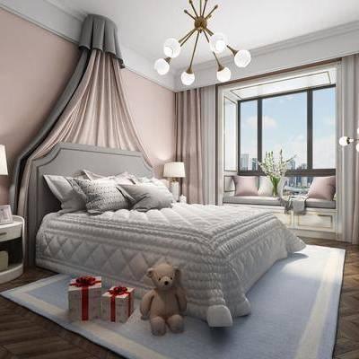 儿童房, 床具, 双人床, 床头柜, 后现代, 简欧, 台灯, 吊灯