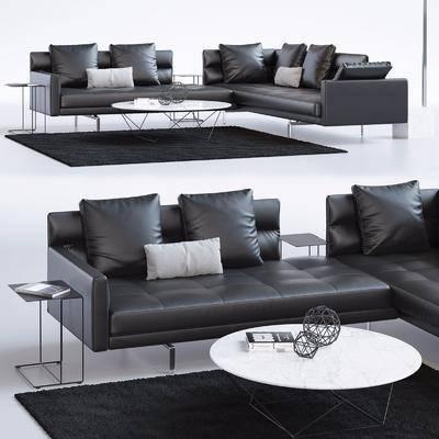 现代, 多人沙发, 皮革沙发, 转角沙发, 茶几, 落地灯, 摆件组合