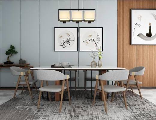 新中式, 餐桌, 单人椅, 椅子, 花瓶, 摆件, 挂画, 吊灯, 禅意