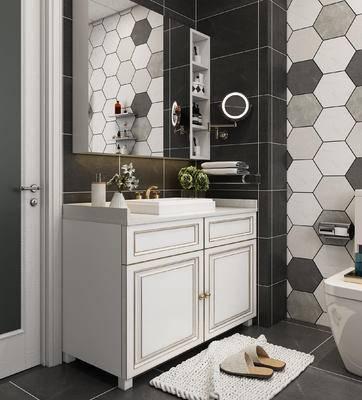 洗手台, 浴柜, 墙饰, 壁镜, 摆件组合