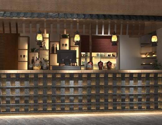 餐厅, 前台, 吊灯, 电脑, 酒柜, 装饰柜, 酒瓶, 摆件, 装饰品, 陈设品, 青瓦, 中式