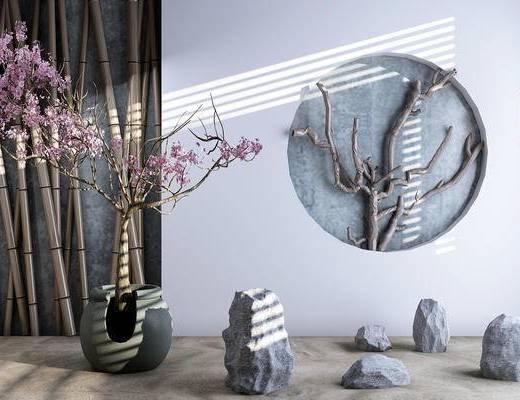 园林, 桃花, 竹子, 树枝, 石头, 梅花