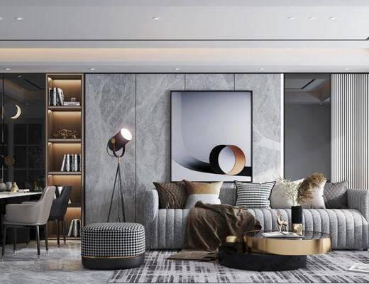 沙发组合, 茶几, 单椅, 花瓶, 装饰画