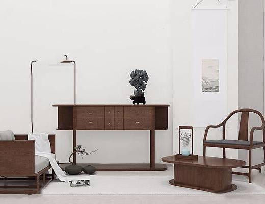 单椅, 边柜, 摆件组合, 双人沙发