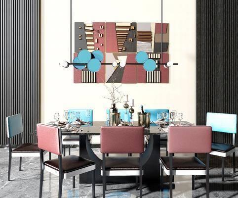 现代餐桌椅组合, 餐桌椅, 桌椅组合, 现代餐桌, 椅子