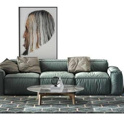 多人沙发, 布艺沙发, 单人沙发, 茶几, 摆件, 沙发凳, 装饰画, 北欧