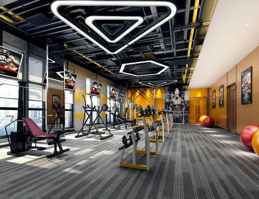 工业风, 健身房, 健身器材