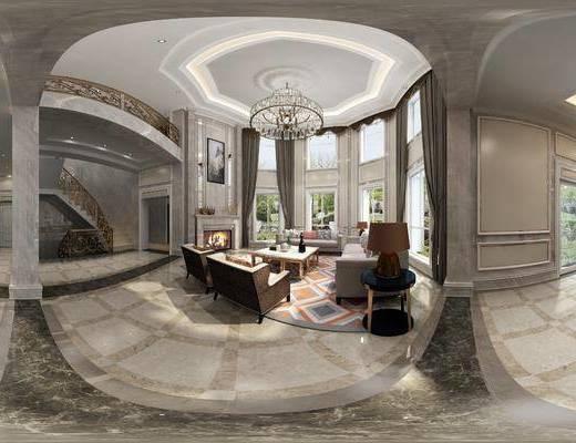 新古典客厅, 客厅, 沙发组合, 全景