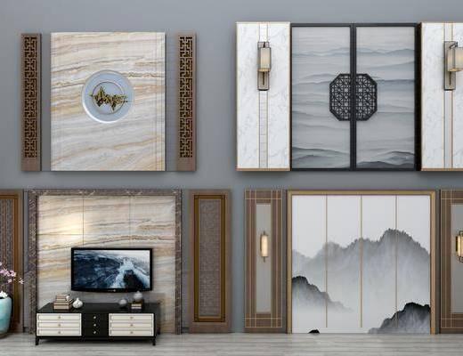背景墙, 电视墙, 新中式电视背景墙, 壁灯, 花瓶, 花火, 电视柜, 新中式