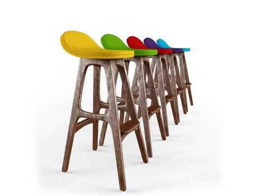 美式简约, 工业风, 吧椅, 椅子, 高脚椅