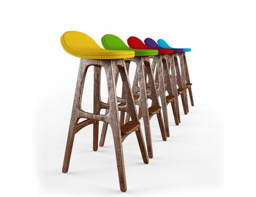 美式简约, 工业风, 吧椅, 椅子