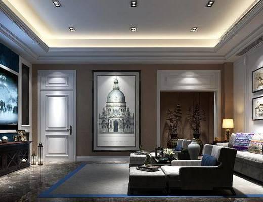影音室, 多人沙发, 躺椅, 茶几, 装饰画, 挂画, 电视柜, 装饰柜, 边几, 台灯, 装饰品, 陈设品, 现代简约