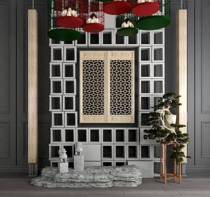 背景墙, 鸟笼吊灯, 盆栽盆景, 雕塑石头, 摆件组合, 绿植植物, 新中式