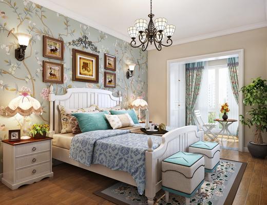 美式田园卧室, 双人床, 床头柜, 尾凳, 休闲椅, 角几, 盆景, 挂画, 灯具
