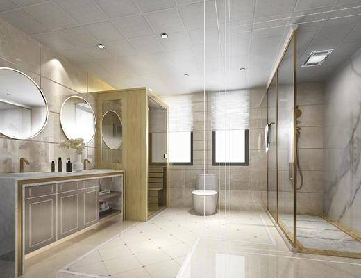 卫生间, 桑拿房, 淋浴房, 马桶, 洗手台, 花洒, 现代