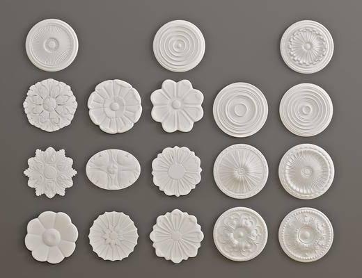 石膏灯盘, 构件雕花, 墙饰, 欧式