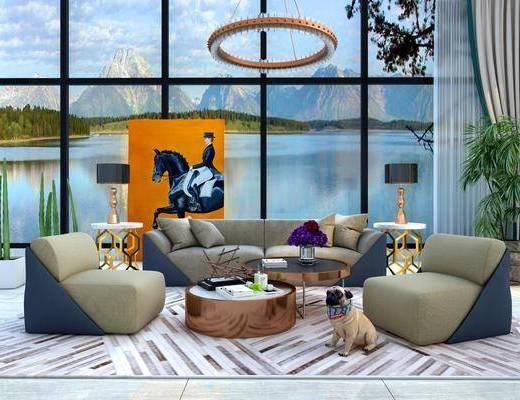 沙发组合, 多人沙发, 边几, 单人沙发, 茶几, 宠物狗, 盆栽, 绿植植物, 台灯, 吊灯, 动物画, 摆件, 装饰品, 陈设品, 现代