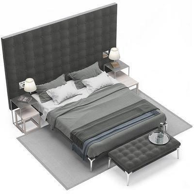 现代, 双人床, 边几, 凳子, 地毯, 床具组合, 床头灯, 床尾凳