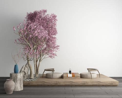 日式, 櫻花樹, 桌椅組合