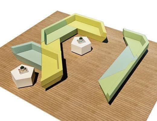 异形沙发, 多边形茶几, 防腐木地板, 休闲沙发, 沙发, 现代