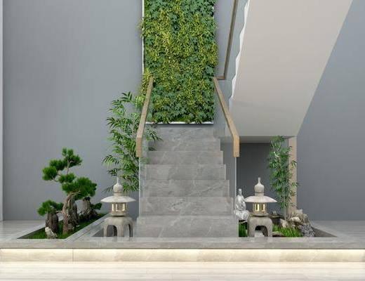 楼梯扶手, 栏杆, 园林小品, 植物墙, 绿植植物, 现代
