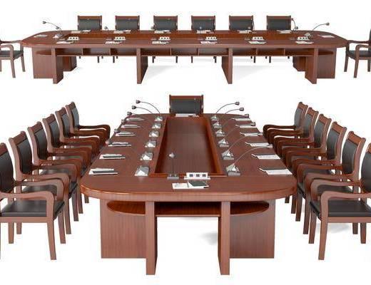 现代, 办公, 桌椅, 组合