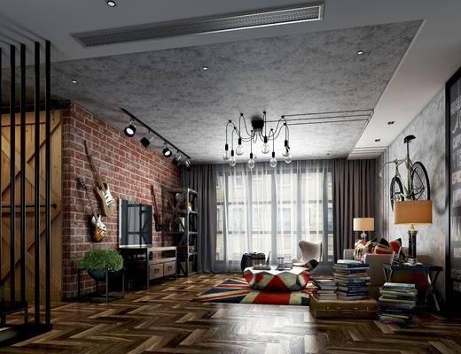 工业风客厅, loft, 沙发组合, 沙发茶几组合