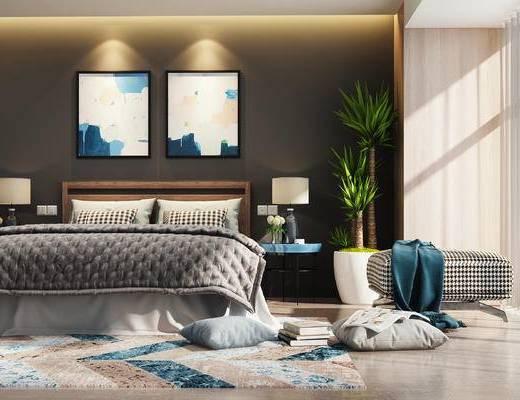 床, 双人床, 装饰画, 卧室, 盆栽, 抱枕, 北欧卧室
