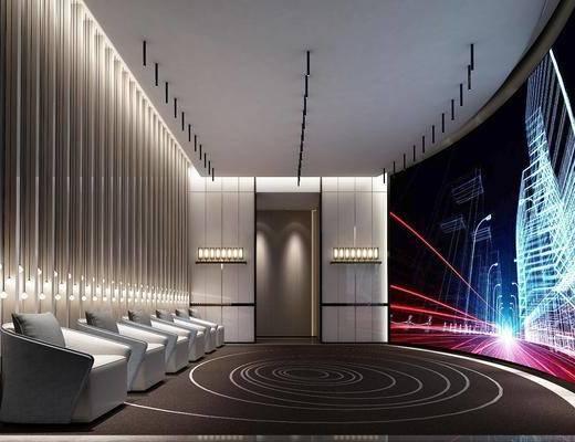 影音室, 单椅, 屏幕, 背景墙