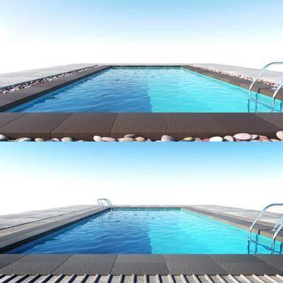 泳池, 现代, 鹅卵石