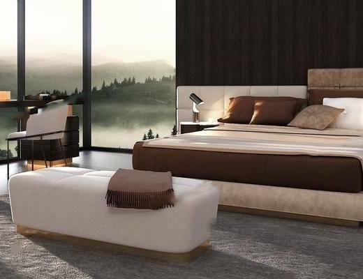 现代卧室模型, 现代, 床, 脚踏, 椅子, 床头柜