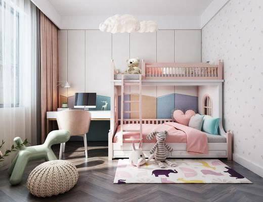 儿童房, 女儿房, 上下床, 书桌, 单人椅, 花卉, 地毯, 玩具, 北欧卧室