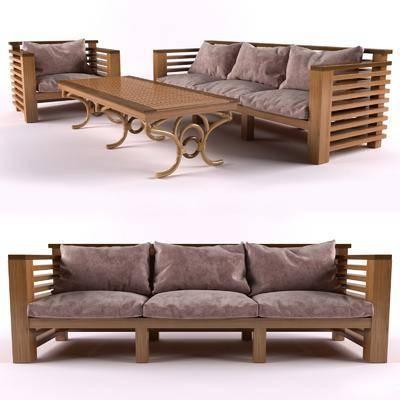 多人沙发, 沙发, 茶几, 布艺, 木质, 现代