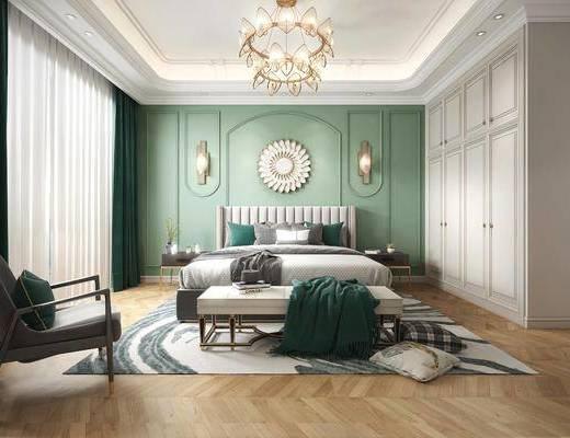 双人床, 床具组合, 壁灯, 墙饰, 衣柜