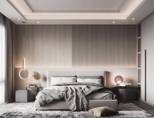 现代, 卧室, 双人床, 床头柜, 花瓶, 地毯